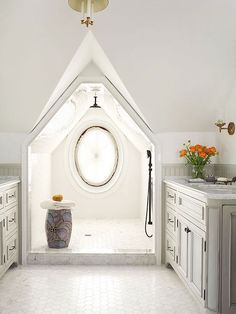 Play Every Angle - both bathrooms with elongated drains & ceiling shower heads (plus other on the wall, black upstair, old brass downstairs) at mid room if not enough space to put separately (toilet in master put separate)