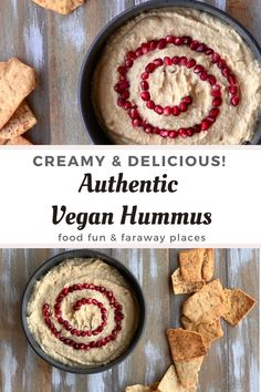 This hummus is so delicious and healthier than processed hummus. The pomegranate seeds give it just the right sweetness. You're going to love this recipe! A Food, Good Food, Food And Drink, Food Tips, Vegan Hummus, Hummus Recipe, Easy Dinner Recipes, Breakfast Recipes, Easy Meals