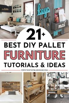 Transform wood pallets into amazing wood pallet furniture ideas with these 20 diy tutorials. From indoor wood pallet furniture ideas to pallet wood patio and outdoor living pieces this post contains the ultimate in diy wood pallet furniture ideas. Pallet Furniture Tutorial, Wooden Pallet Furniture, Pallet Wood, Diy Wood, Wood Pallets, Easy Diy Projects, Spring Projects, Pallet Projects, Diy Household Tips
