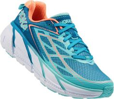 HOKA ONE ONE Women's Clifton 3 Road-Running Shoes Blue Jewel/Neon Coral 10.5