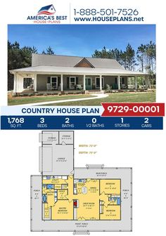 Introducing Plan 9279-00001, a Country design featuring 1,768 sq. ft., 3 bedrooms, 2 bathrooms, a wrap around porch, an office and an open floor plan. Find out more about this plan today! Best House Plans, Country House Plans, Dormer Windows, Open Floor, Building Materials, Square Feet, Building A House, Architecture Design