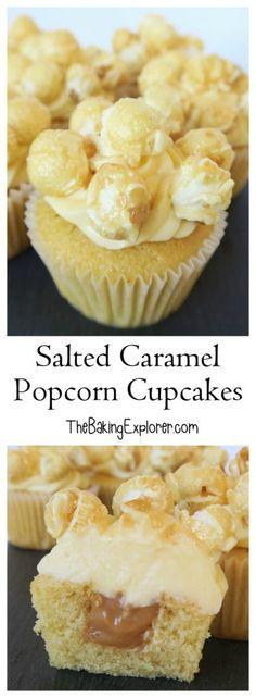 Salted Caramel Popcorn Cupcakes - The Baking Explorer