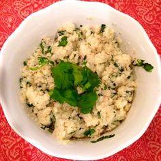 fluffy cauliflower rice with cilantro on top