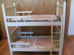 My doll bunk beds.  My mom made mattresses and bedding.  I put those creepy twin baby dolls in here...Bruce and no-name.....