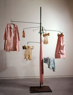 Louise Bourgeois - PINK DAYS AND BLUE DAYS, 1997 Steel, fabric, bone, wood, glass, rubber and mixed media 297.1 x 220.9 x 220.9 cm.