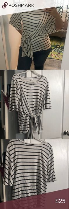 ✨NWT✨ BY TOGETHER Striped Front Tie Top This top is super cute, but it's too big for me.  So cozy, so flattering with that tie in the front By Together Tops Blouses