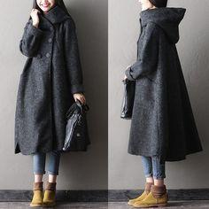 Women winter long woolen coat - Tkdress - 1