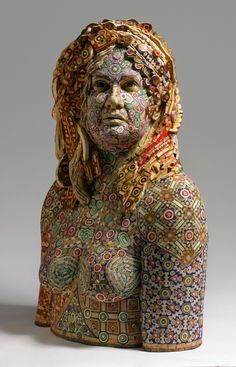 """Rosemarie  2008  recycled wood/ pigmented grout  44""""x30""""x19""""    by Michael Ferris Jr"""