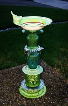 SOLD - birdbath, garden art, repurposed glass from second hand store and department store. hand made/designed by Karen Talbot