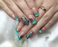 A gentle french manicure with a visual narrowing of the nail plate makes the fingers longer and slimmer. A fine ...