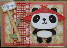 MODIFY THIS CARD     Create a Critter  PANDA     BAMBOO EMB BACKGROUND ADD CRICUT BAMBOO SHOOTS