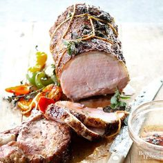 Give everyday pork loin a fresh makeover by brushing it with honey-lime glaze and serving it with roasted peppers.