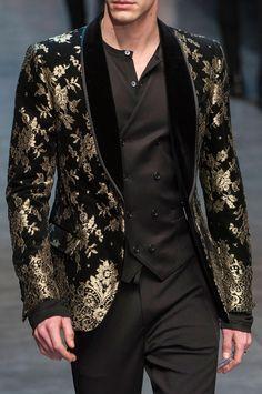 "monsieurcouture: "" Dolce and Gabbana F/W 2015 Menswear Milan Fashion Week "" Wedding Dress Men, Wedding Suits, Mens Fashion Suits, Fashion Outfits, Blazer Fashion, Fashion Hair, Fashion Rings, Costume Africain, Mode Costume"