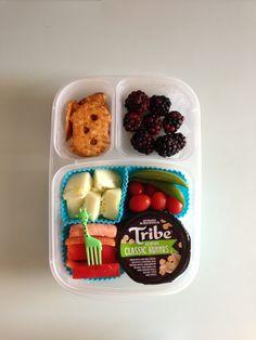 Veggies and hummus! Blackberries and pretzel crisps in #easylunchboxes. #foodforharper #bento