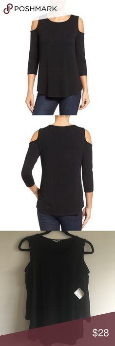 "Halogen Knit Cold Shoulder Tee Cold-shoulder, three-quarter sleeves, scoop neck!  94% rayon, 6% elastane or 80% polyester, 20% rayon. Petite sizes fit women 5'4"" and under! Halogen Tops"