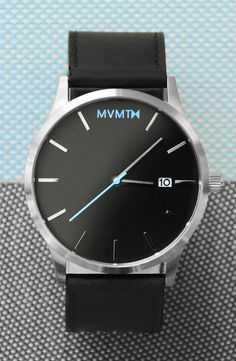 Black/Silver Leather watch x MVMT Watches