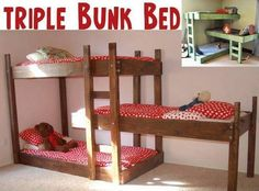 Get The Plans For Terrific Triple Bunk Beds. Great to have for sleepovers or if little brother wants to sleep in the girls'room.