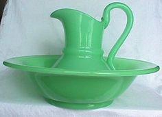 Antique Uranium Glass Green Opaline Large Pitcher Basin Bowl Set Free Shipping   eBay