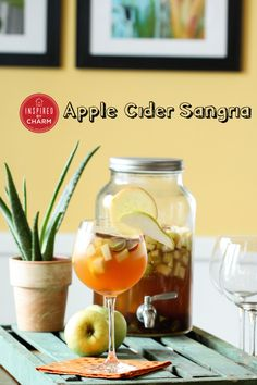 Apple Cider Sangria *White wine *Apple pie vodka *Ginger brandy *Apple cider *Grapes *Apples *Pears *Cinnamon sticks *Ground cinnamon *Sugar