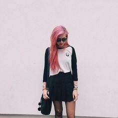 Raglan top + black skirt + tights