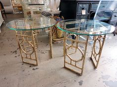 gold metal faux bamboo tables