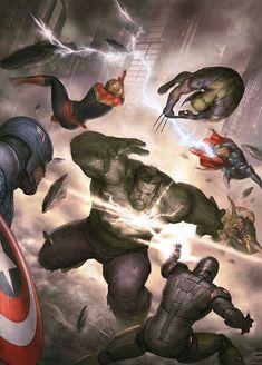 The Avengers vs The Incredible Hulk by Agustin Alessio #AgustinAlessio #TheIncredibleHulk #Hulk #BruceBanner #CaptainAmerica #SteveRogers #IronMan #TonyStark #CaptainMarvel #CarolDanvers #Wolverine #Logan #Thor #ThorOdinson #DonaldBlake #Hyperion #MarcusMilton