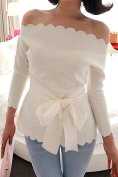 Sweet Sexy Boat Neck Three Quarter White Spandex Shirt(US$6.99)