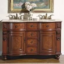 silkroad exclusive juliana double sink cabinet with travertine top undermount ivory ceramic sink with three holes carved details two doors four drawers