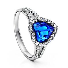 Neoglory Platinum Plated Blue Ocean Heart Crystal Engagement Rings Size 8 by neoglory -- Awesome products selected by Anna Churchill