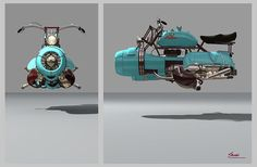 Scooter of the Future! Futuristic Motorcycle, Retro Futuristic, Scrap Mechanics, Motos Retro, Hover Bike, Science Fiction Kunst, Arte Sci Fi, Spaceship Concept, 3d Fantasy