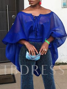 Plain Off Shoulder Lantern Sleeve African Fashion Women's Blouse African Attire, African Wear, African Dress, African Tops For Women, Blouses For Women, Latest African Fashion Dresses, African Print Fashion, African Lace Styles, African Blouses