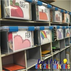 Organize my unit too Organizing Monthly Materials {Monthly Bin Labels FREEBIE! Classroom Setup, Kindergarten Classroom, Future Classroom, Montessori Elementary, Classroom Libraries, Classroom Supplies, Daycare Organization, Classroom Organisation, Classroom Management