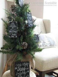 Chalkboard art Christmas ornaments.  I love these!  Hang with Christmas stockings to personalize.