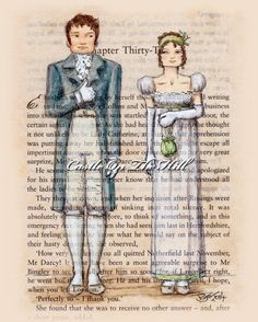 Jane Austen  Elizabeth and Mr Darcy Pride and by CastleOnTheHill, $18.00