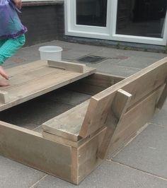 Ombouw kattenbak met losse deksel tevens tafeltje 78x70x49 steigerhout pinterest met - Hoekbank hok ...