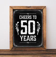 50th birthday party decorations. Printable 50 th birthday decor rustic. 50…
