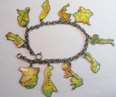 Vintage enameled European country maps charm bracelet ~ From the estate of Joan Munkacsi