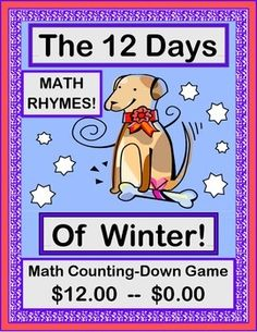 "Play a MATH COUNTING DOWN GAME and sing a funny SONG with your kids! Tell this story with the tune from ""The Twelve Days of Christmas"". A little boy receives $12 from his Grandma-- plus a PUPPY! So these '12 Days' are busy with using his $12 to replace each item that the puppy destroys! Use the 12 STORY SEQUENCING / MATH POSTERS to 'SUBTRACT' this boy's diminishing money. Then make NUMBER BOOKS! (12 pages) From Joyful Noises Express TpT! $"