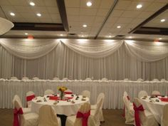 White Pipe and Drape with Swags at Ramada by Deckci Decor
