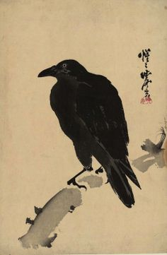 'Crow Resting on Wood Trunk.' Woodblock print by Kawanabe Kyōsai Image and text courtesy The Metropolitan Museum of Art. Kawanabe, Crow Art, Japanese Artists, Museum Of Fine Arts, Japanese Woodblock Printing, Japanese Painting, Art, Eastern Art, Bird Art