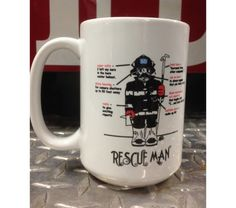 New Rescue Firefighter Ceramic Coffee Mug Be part of the Salty Dog crew. Start your day with a great cup O' joe in a Rescue Firefighter Ceramic Coffee Mug. Gettin Salty Rescue Man Ceramic Coffee Mug Firefighter Home Decor, Firefighter Gifts, Personalized Coffee Mugs, Makeup Kit, Toiletry Bag, White Ceramics, How To Memorize Things, Tableware, Handmade Gifts