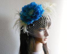 BridalChurch Fascinator or Boudoir Blue by IrmasElegantBoutique, $65.00