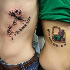 Jack and sally key and heart tattoo