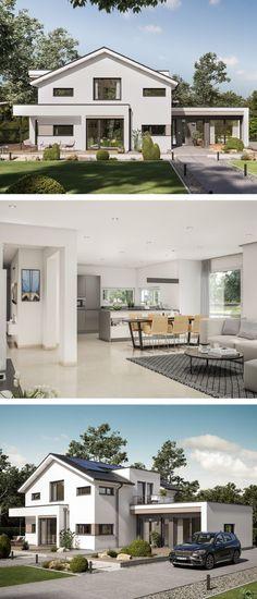 Einfamilienhaus Architektur modern mit Satteldach & Büro Anbau - Fertighaus bauen Design Haus Concept-M 166 Bien Zenker Hausbau Ideen - HausbauDirekt.de