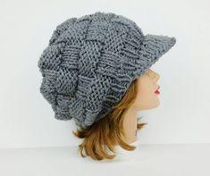 Gray Newsboy Hat, Visor Beanie, Chunky Knit Hat Women, Visor Hat, Winter Hats For Women, Slouchy Hat With Brim, Women's Newsboy Cap by BettyMarieJones on Etsy