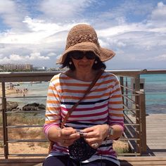 @maria_christoforidou Protaras Beach, Famagusta, Cyprus #KatiaKiPD2015 @katiayarns Making a Katia Rafia crochet hat and wearing my Katia 100% lino hat. By the sea at Protaras beach.