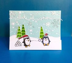 the Lawn Fawn blog: Lawn Let it Snow Border and Mini Snowflakes Toboggan Together Penguin card by Lynnette.
