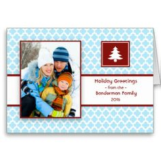Quatrefoil Blue Red Folded #Christmas #Card from Sublime Stationery.