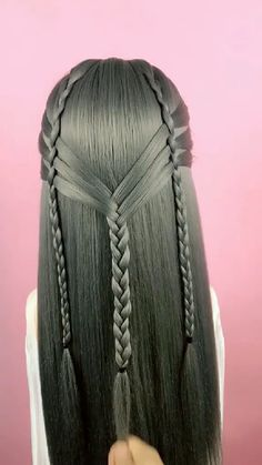 Hairstyle Tutorial 804 - Haar styling - Tricot et Crochet Cute Hairstyles, Braided Hairstyles, Hairstyles Videos, Wedding Hairstyles, Hair Upstyles, Hair Videos, Purple Hair, Synthetic Hair, Hair Designs