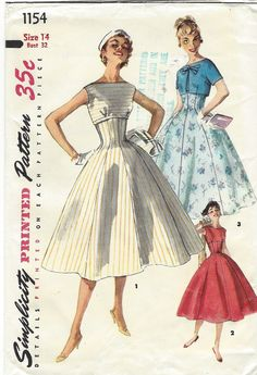 Misses One-Piece Dress and Jacket: Empire style dress features a bateau neckline and is sleeveless. The gored skirt, smoothly fitted through the midriff, flares gracefully to hemline. View 1 dress has bias trim sewn in seam joining bodice and skirt. The short, cover-up jacket may be matching or contrasting. Kimono sleeves are short.  Pattern printed by Simplicity Patterns circa 1960s, and is in factory folds. This is an original sewing pattern with all of the original pattern pieces and…